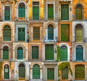 Bunte Collage gemacht von den grünen Türen von Rom Stockfotografie