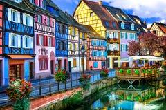 bunte Colmar-Stadt in Elsass Lizenzfreies Stockfoto