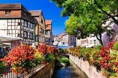 Bunte Colmar-Stadt, Elsass, Frankreich Stockfotos