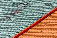 Bunte Dachplatten Stockbild