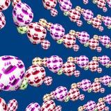 Bunte dekorative Vögel auf Partei steigt Muster im Ballon auf Stockfotos