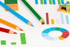 Bunte Diagramme mit Bleistiften Stockbild