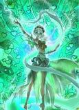 Bunte digitale Illustration einer Naturmagie des eleganten Elfenmädchens perfoming Wald Lizenzfreie Stockfotografie