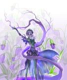 Bunte digitale Illustration einer Naturmagie des eleganten Elfenmädchens perfoming Wald Lizenzfreie Stockbilder