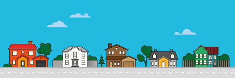 Bunte Dorfnachbarschafts-Vektorillustration Stockfoto