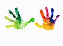 Bunte Drucke der handprints der Kinder Stockbilder