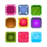 Bunte Edelstein-grelle Spiel-Element-Schablonen-Design-Sammlung mit bunter quadratischer Süßigkeit für drei in der Reihen-Art von vektor abbildung