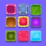 Bunte Edelstein-grelles Spiel-Element-Schablonen-Design eingestellt mit quadratischer Süßigkeit für drei in der Reihen-Art des Vi Stockfotos