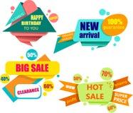 Bunte Einkaufs- und Geburtstagsaufkleber lokalisiert auf Weiß stock abbildung