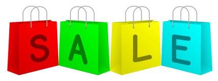 Bunte Einkaufstaschen für Rabatt-Verkauf Stockfotografie