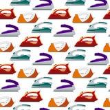 Bunte Eisen des nahtlosen Musters - Illustration Flache Elektrogeräte, bügelndes Elektrogerät, Hauptgerät, housewo Stockbilder