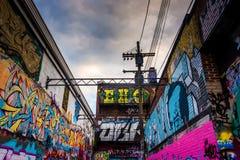 Bunte Entwürfe in der Graffiti-Gasse, Baltimore, Maryland Lizenzfreie Stockfotografie