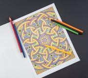 Bunte erwachsene Farbton-Seite und Bleistifte Lizenzfreies Stockbild