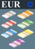 Bunte Eurobanknoten Isometrische Designillustration Lizenzfreies Stockbild