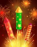 Bunte explodierende Rockets auf hellem Hintergrund Lizenzfreie Stockfotos