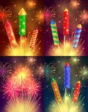 Bunte explodierende Rockets auf hellem Hintergrund Stockfotos