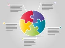 Bunte fünf versahen infographic Schablone der Kreispuzzlespiel-Darstellung mit Seiten Lizenzfreie Stockbilder