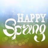 Bunte Fahne mit dem Beschriften des glücklichen Frühlinges auf Steigungshintergrund Stockfotos