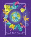 Bunte Fahne mit unserem Planeten im Blumenrahmen Stockbild