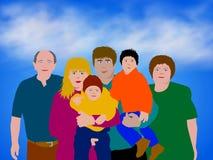 Bunte Familien-Abbildung Stockbilder
