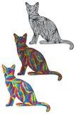 Bunte Farbe des Katzenschattenbildes Lizenzfreie Stockfotografie
