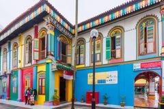 Bunte Fassade des Gebäudes in wenigem Indien, Singapur Stockfoto
