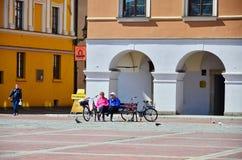 Bunte Fassade von Gebäuden in Zamosc, Polen Lizenzfreies Stockbild