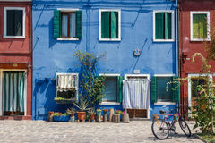 Bunte Fassaden auf Burano-Insel Stockbilder