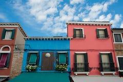 Bunte Fassaden, Burano-Insel Stockbild