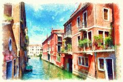 Bunte Fassaden von alten mittelalterlichen Häusern in Venedig, Italien Stockfoto