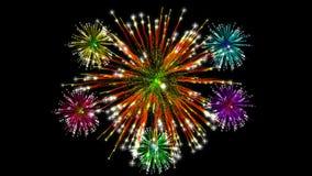 Bunte Feuerwerk-Bildschirmanzeige stockbild