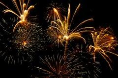 Bunte Feuerwerke auf dem schwarzen Himmel Lizenzfreies Stockfoto