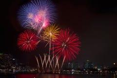 Bunte Feuerwerke über nächtlichem Himmel, rote Feuerwerke zeichnet Stockbilder