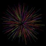 Bunte Feuerwerke, die von der Mitte von dünnen Strahlen, Linien ausstrahlen Auch im corel abgehobenen Betrag Dynamische Art Lizenzfreie Stockbilder