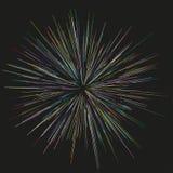 Bunte Feuerwerke, die von der Mitte von dünnen Strahlen, Linien ausstrahlen Auch im corel abgehobenen Betrag Dynamische Art Stockfotografie