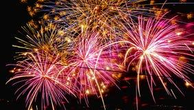 Bunte Feuerwerke nachts lizenzfreie stockbilder