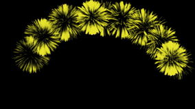 Bunte Feuerwerke nachts Großartige firecrakers 3d übertragen Gelbe Version 17 stock footage