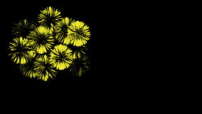 Bunte Feuerwerke nachts Großartige firecrakers 3d übertragen Gelbe Version 19 stock video footage