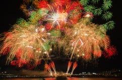 Bunte Feuerwerke in Seoul, Südkorea Stockbilder