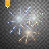 Bunte Feuerwerksexplosion auf transparentem Hintergrund Weiß, Gold und gelbe Lichter Neues Jahr, Geburtstag und Feiertag Lizenzfreie Stockbilder