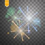 Bunte Feuerwerksexplosion auf transparentem Hintergrund Weiß, Gold und gelbe Lichter Neues Jahr, Geburtstag und Feiertag Lizenzfreie Stockfotografie