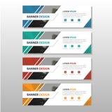 Bunte Firmenkundengeschäft-Fahnenschablone der Dreieckzusammenfassung, infographic horizontale Werbebranchefahnen-Planschablone Stockfotos