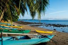 Bunte Fischerboote auf der Küste, Mindoro Stockfoto