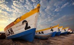 Bunte Fischerboote, Malawisee Stockfotografie