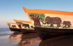 Bunte Fischerboote, Malawisee Lizenzfreies Stockbild