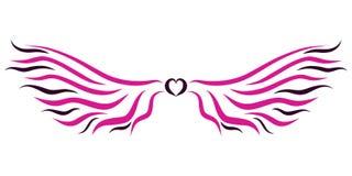 Bunte Flügel mit einem Herzen für eine Fee Stockfotografie
