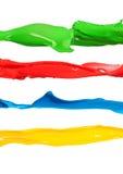 Bunte flüssige Farbe spritzt verschiedene Farben Stockfotografie
