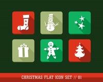 Bunte flache Ikonen der frohen Weihnachten eingestellt. Stockfotos