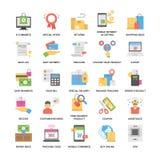 Bunte flache Ikonen eingestellt vom Einkaufen und vom Handel Lizenzfreie Stockfotos