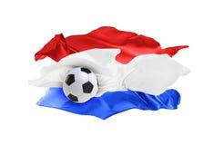 Bunte Flagge die Niederlande mit dem copyspace für Ihren Text oder Bilder, lokalisiert auf weißem Hintergrund stock abbildung